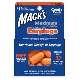Mack's Maximum Protection Soft Foam Earplugs (NRR 33) (10 Pairs)