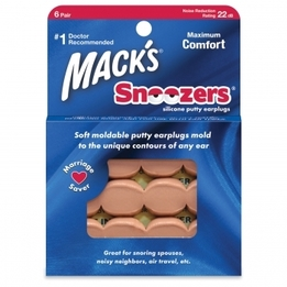 Mack's Snoozers Beige Moldable Silicone Putty Ear Plugs (NRR 22) (Pack of 6 Pairs)