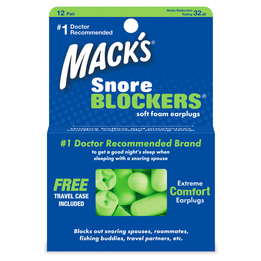 Mack's Snore Blockers Soft Foam Ear Plugs (NRR 32) (12 Pairs)
