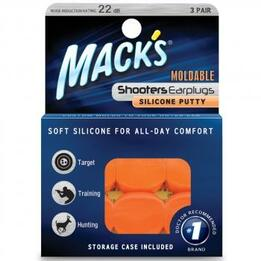 Mack's Shooters Moldable Silicone Putty Ear Plugs - Orange (3 Pairs)