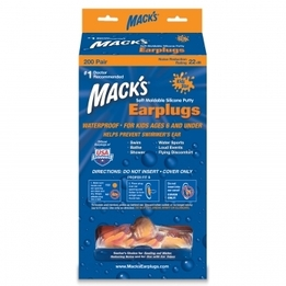 Mack's Kid Size Moldable Soft Silicone Ear Plugs (NRR 22) (200 Pairs)