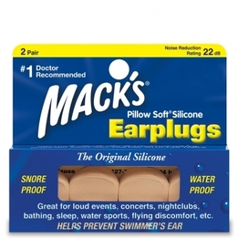 Mack's Pillow Soft Beige Moldable Silicone Ear Plugs (NRR 22) (Pack of 2 Pairs)