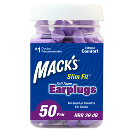 Mack's Slim Fit Smaller Soft Foam Ear Plugs (NRR 29) (Bottle of 50 Pairs)