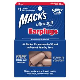 Mack's Ultra Soft Foam Ear Plugs (NRR 32) (10 Pairs w/ Carry Case)