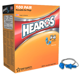Hearos F4 Series 7422 Reusable Ear Plugs (NRR 27) - CORDED (Box of 100 Pairs)