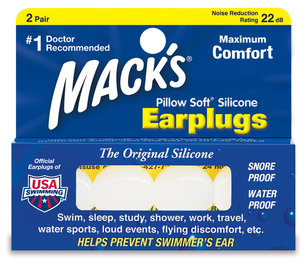 Mack's Pillow Soft White Silicone Moldable Earplugs (NRR 22) (Pack of 2 Pairs)