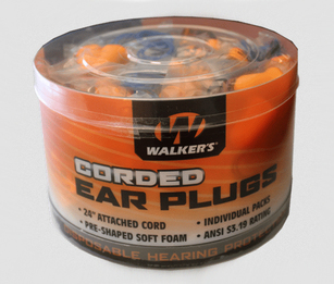 Walker GSM Corded Disposable Foam Ear Plugs (NRR 32) (Jar of 50 Corded Pairs)