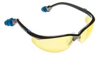 Plugs Safety Glasses with Amber Lens and PermaPlug Ear Plugs (NRR 25/SNR 29)