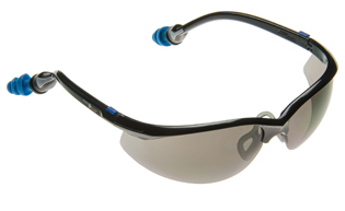 Plugs Safety Glasses with Gray Lens and PermaPlug Ear Plugs (NRR 25/SNR 29)