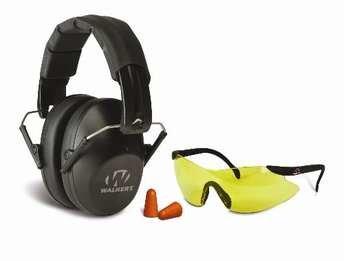 Walker's Pro Safety Combo Kit - Low-Profile Ear Muffs + Sport Glasses + Ear Plugs (NRR 31)