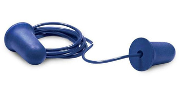 Elvex Blue UF Foam Ear Plugs Corded (NRR 32) (Box of 100 Pairs)