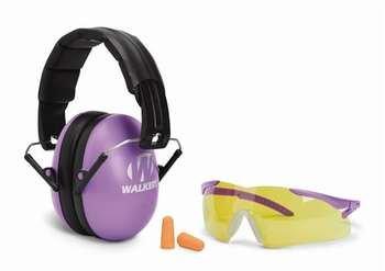 Walker's Youth and Women Combo Kit - Folding Purple Ear Muffs + Sport Glasses + Ear Plugs (NRR 31)