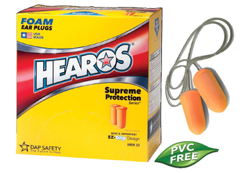Hearos Supreme Protection Series 7024 UF Foam Ear Plugs - CORDED (NRR 33) (Case of 1000 Pairs)