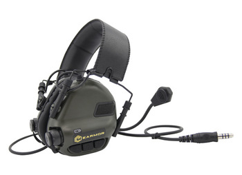 Opsmen Earmor M32 Tactical Electronic Communications Ear Muffs with Boom Mic and NEXUS TP-120 Downlead Mod 3 (NRR 22)