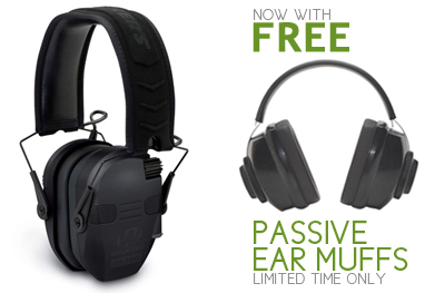 Razor Slim Electronic Quad Muff with Bluetooth & Mic (NRR 22) - with FREE Radians Passive Ear Muffs, Limited Time Only!